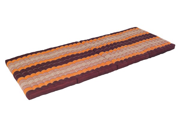 large 4-folded Kapok mat 200x80 cm (brown & orange)