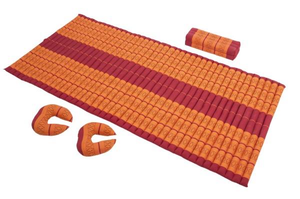 Set: Rollmatte + Kissen + 2 Hörnchen (Thaimuster rot-orange)