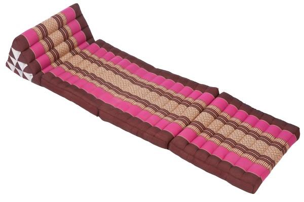 Klassische Thaimatte mit Dreieckskissen 170x50 cm (burgunder & pink) offen
