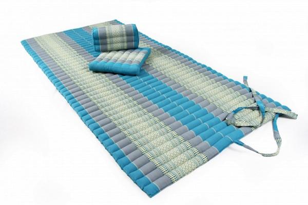Yogaset: Matte 200x100 + Yogakissen + Sitzkissen (blau)