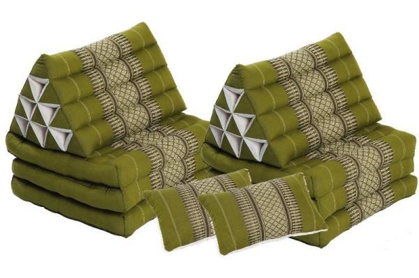 Thaikissen Set: 2 Dreieckskissen + 2 Sofakissen bambusgrün