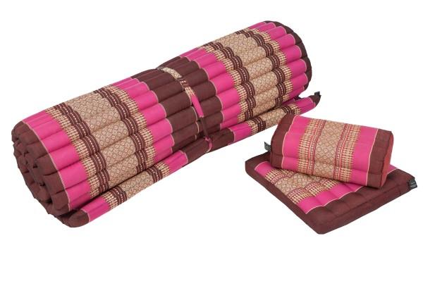 Thaimatten Set: Rollmatte + Kissen + Sitzkissen (burgunder & pink)