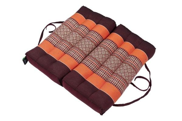 Falt- und tragbares Sitzkissen 40x40x7 cm (braun & orange) aufgeklappt