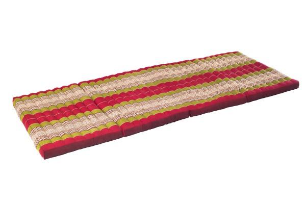 große 4-fach faltbare Kapokmatte 200x80 cm (grün & rot) offen