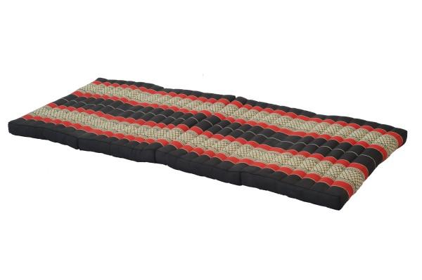 große 4-fach faltbare Kapokmatte 200x80 cm (schwarz & rot) offen