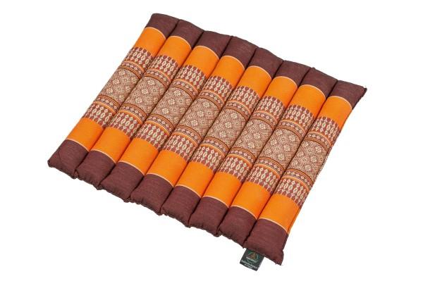 Thai-Sitzkissen rollbar 40x38x4 cm (braun & orange)