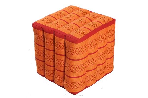 Würfelförmiges Kissen 40x40x40 cm (rot & orange)