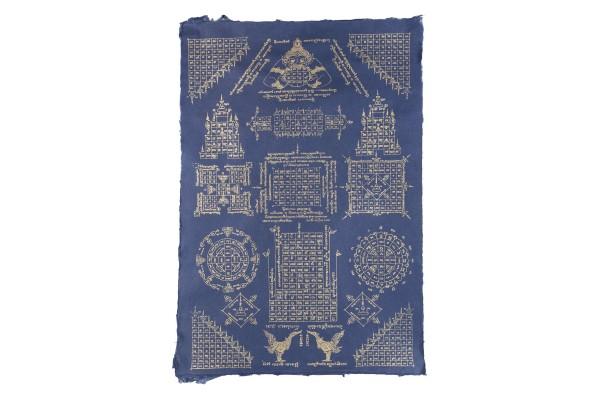 Kunstdruck Numerologie (blau) ausgerollt