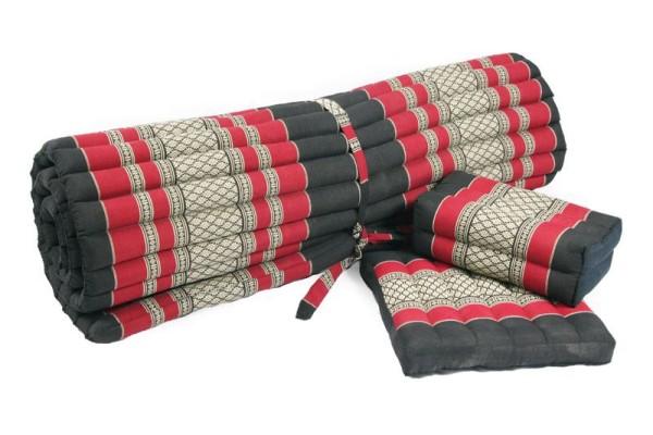 Yogaset: Matte 200x100 + Yogakissen + Sitzkissen (schwarz-rot) geschlossen