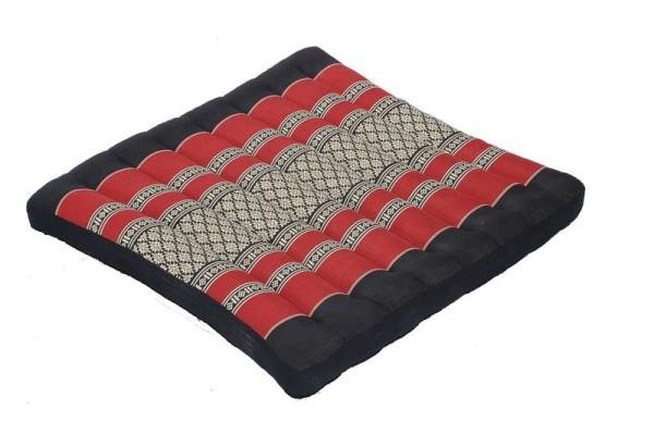 Großes Thai-Sitzkissen 50x50 cm (schwarz & rot)