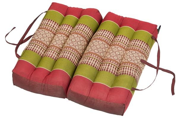 Falt- und tragbares Sitzkissen 40x40x7 cm (grün & rot) aufgeklappt