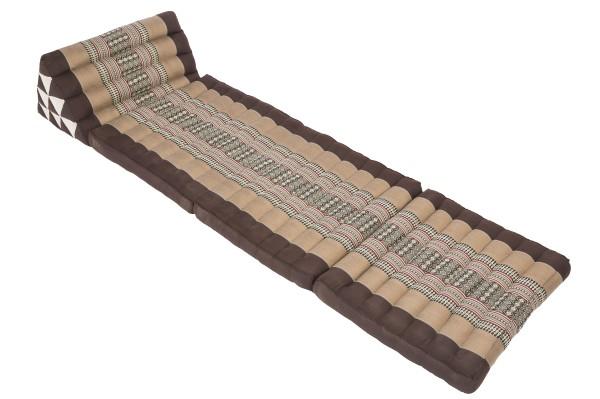 Klassische Thaimatte mit Dreieckskissen 170x50 cm (erdtöne) offen