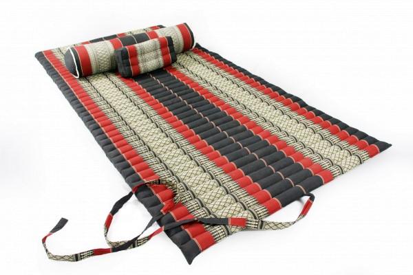 Yogaset II (schwarz-rot) : Matte 200x100 + Yogarolle + Kissenblock