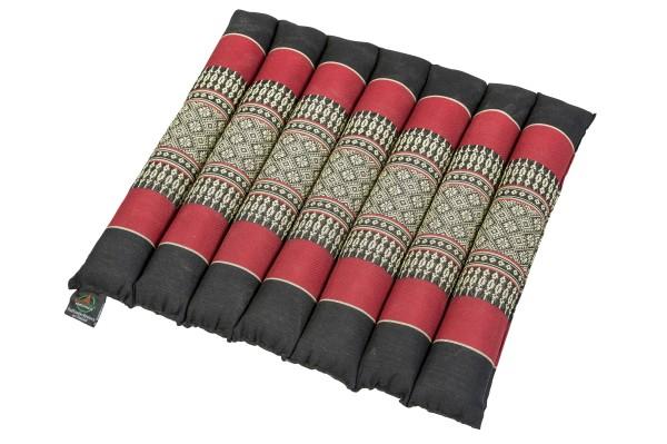 Thai-Sitzkissen rollbar 40x38x4 cm (schwarz & rot)