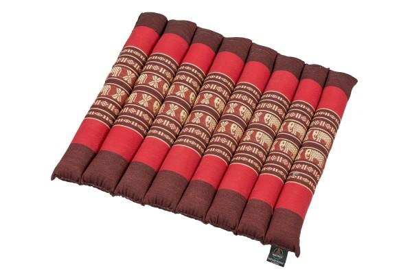 Thai-Sitzkissen rollbar 40x38x4 cm (Elefanten rot)