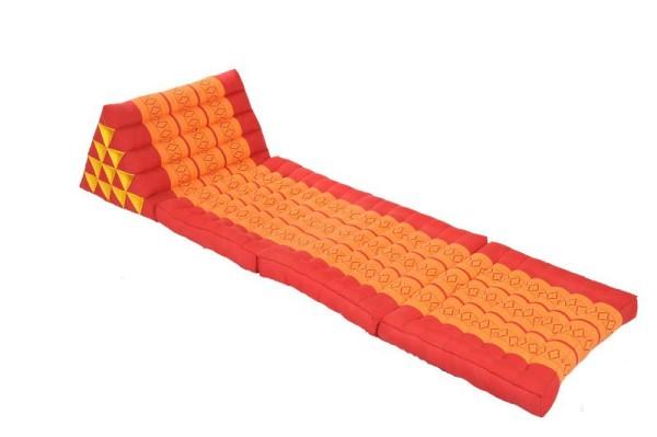 Thaikissen XL 175 x 55 mit extragroßem Dreieck (rot & orange) offen