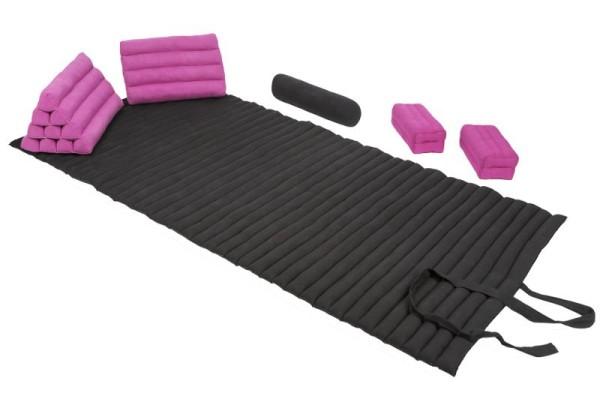 Set: Rollmatte + Bolster + 2 Dreiecke + 2 Kissen (schwarz&pink)
