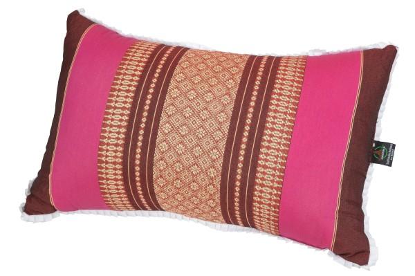 Thaikissen mit Kapokfüllung 45x28 cm (burgunder & pink)