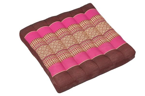 Thai-Sitzkissen 37x37x5 cm (burgunder & pink)