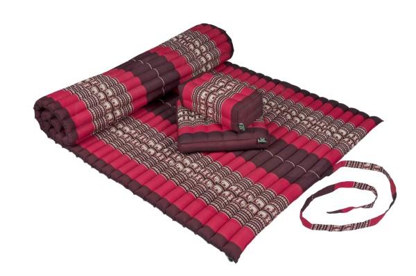 Thaimatten Set: Rollmatte + Kissen + Sitzkissen (Elefanten rot)