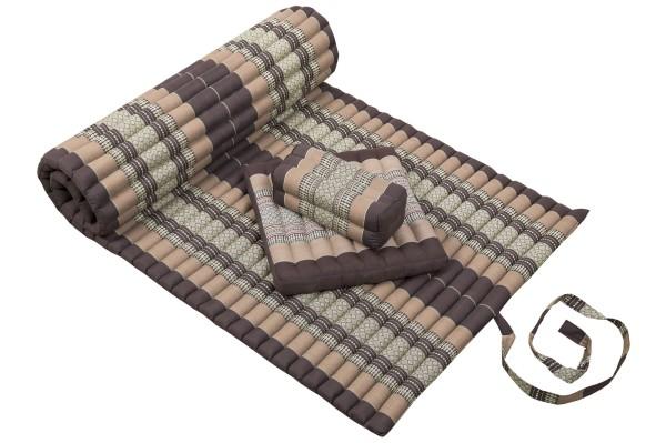 Thaimatten Set: Rollmatte 200x100 + Kissen 35x15x10 + Sitzkissen 40x40 (Thaimuster braun-beige)