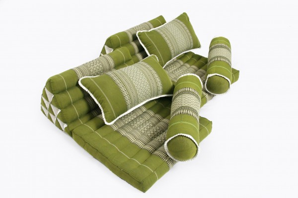 Thaikissen Set: 2 Dreiecksmatten + 4 Kissen (bambusgrün)