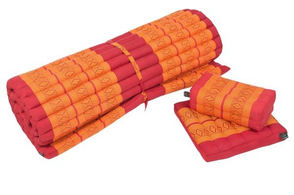 Thaimatten Set: Rollmatte + Kissen + Sitzkissen (rot & orange)