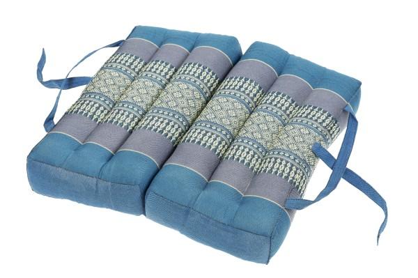 Falt- und tragbares Sitzkissen 40x40x7 cm (blautöne) aufgeklappt