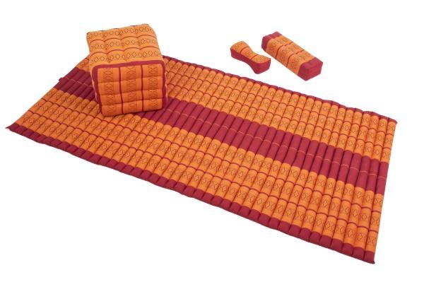 Set: 1x Rollmatte 200x100 + Würfel 40x40 + Kissenblock 50x15x10 + 1x Nackenkissen