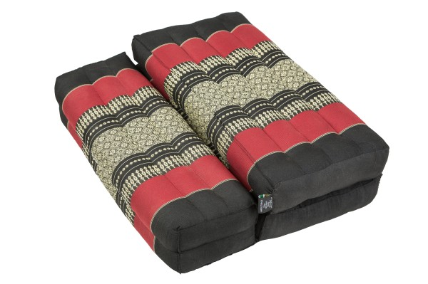 Faltbares Meditationskissen 50x15x10 cm (schwarz & rot) geschlossen