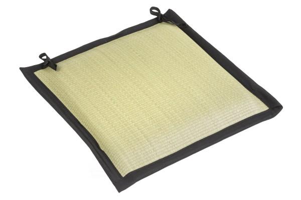 Tatami- Sitzkissen, schwarz eingefasst, 40x40cm, Oberfläche aus Igusa Gras