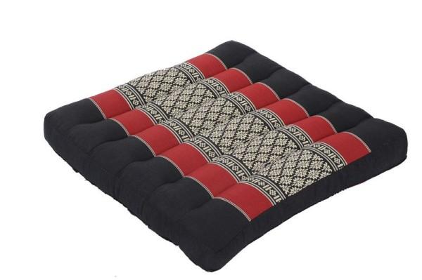 Thai-Sitzkissen 37x37x5 cm (schwarz & rot)