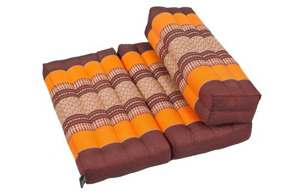 Faltbares Meditationskissen 50x15x10 cm (braun & orange)
