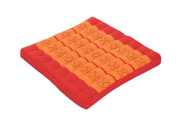 Großes Thai-Sitzkissen 50x50 cm (rot & orange)