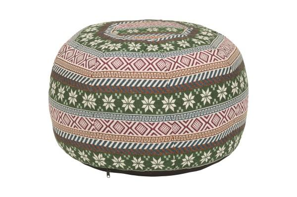 Pouf Rundes Kissen Baumwolle gewebt 34 x 48 cm grün & rot