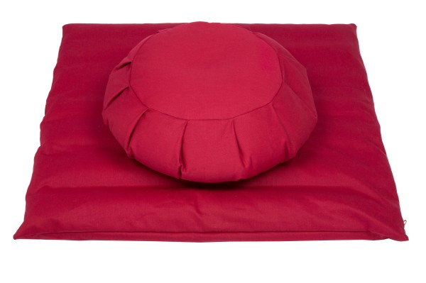 Meditationsset mit Füllung aus Buchweizenspelz (rot)