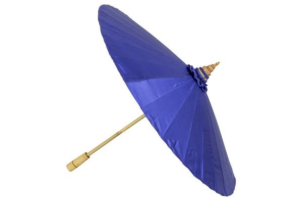 Handbemalter Dekoschirm aus Thailand (blauer Stoff) offen