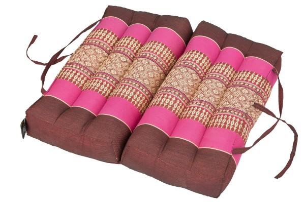 Falt- und tragbares Sitzkissen 40x40x7 cm (burgunder & pink) aufgeklappt