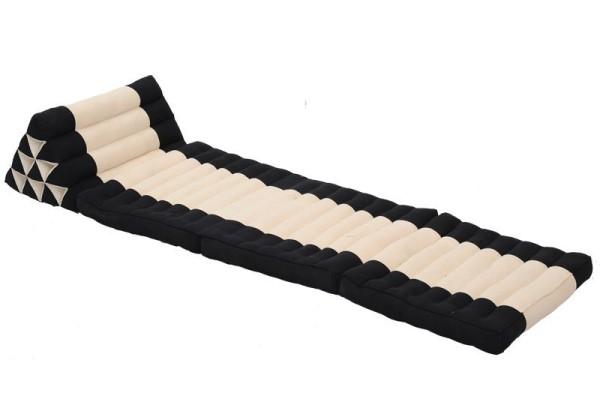 Thaikissen Baumwolle-Leinen 170x50 cm (schwarz-natur) offen
