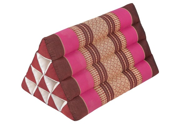 Traditional Thai Axe Pillow with Kapok Filling, 50x28cm, Thai Design, red-pink.