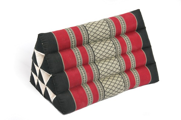 Triangle Pillow, 50x28cm, black and red Thai Design