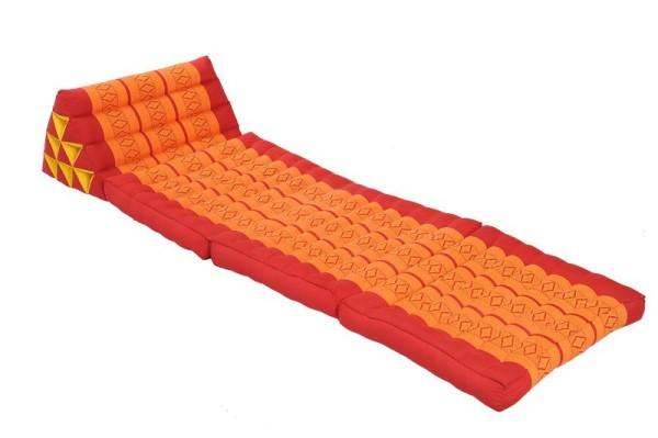 Klassische Thaimatte mit Dreieckskissen 170x50 cm (rot & orange) offen
