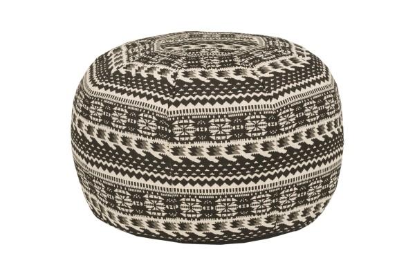 Pouf Rundes Kissen Baumwolle gewebt 38 x 48 cm schwarz & weiß