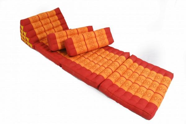 Thaikissen Set: Dreiecksmatte mit 2 Kissen (rot-orange)