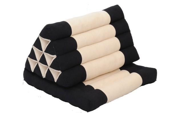 1-fold-Thaikissen Baumwolle-Leinen 80x50 cm (schwarz-natur) geschlossen