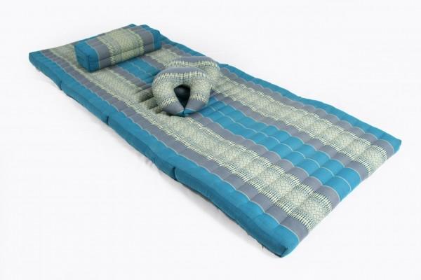 Massageset II: Matte + Kissen + 2x Hörnchen (Thaimuster blau)