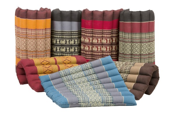 Thai seat cushion rollable 40x38x4 cm various colours