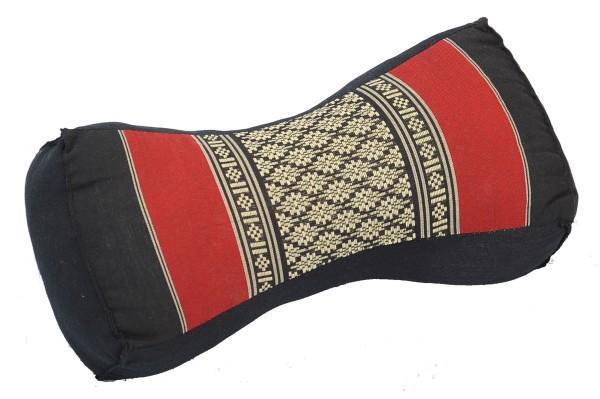 Thai-Nackenkissen 30x15x10 cm (schwarz & rot)