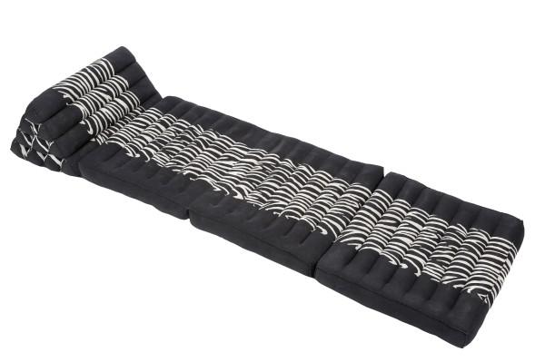 Design Thaimatte mit Dreieckskissen 170x50 cm (schwarz-weiß) offen