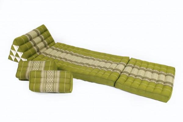 Thaikissen Set: Dreiecksmatte + 2 Meditationskissen (Bambusgrün)